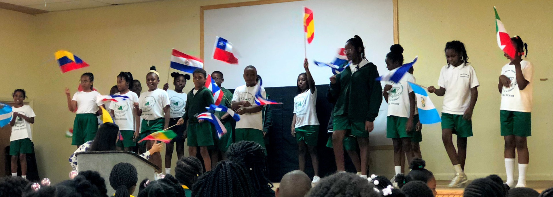 students holding a flag